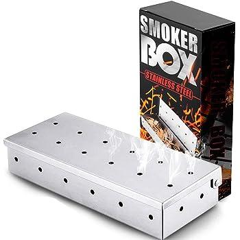 WELLXUNK Affumicatore,Affumicatore BBQ - 22.2 x 9.6 Cm - Acciaio Inox - per Affumicare Patatine e Affumicatori di Legno, Utensili da Barbecue per papà