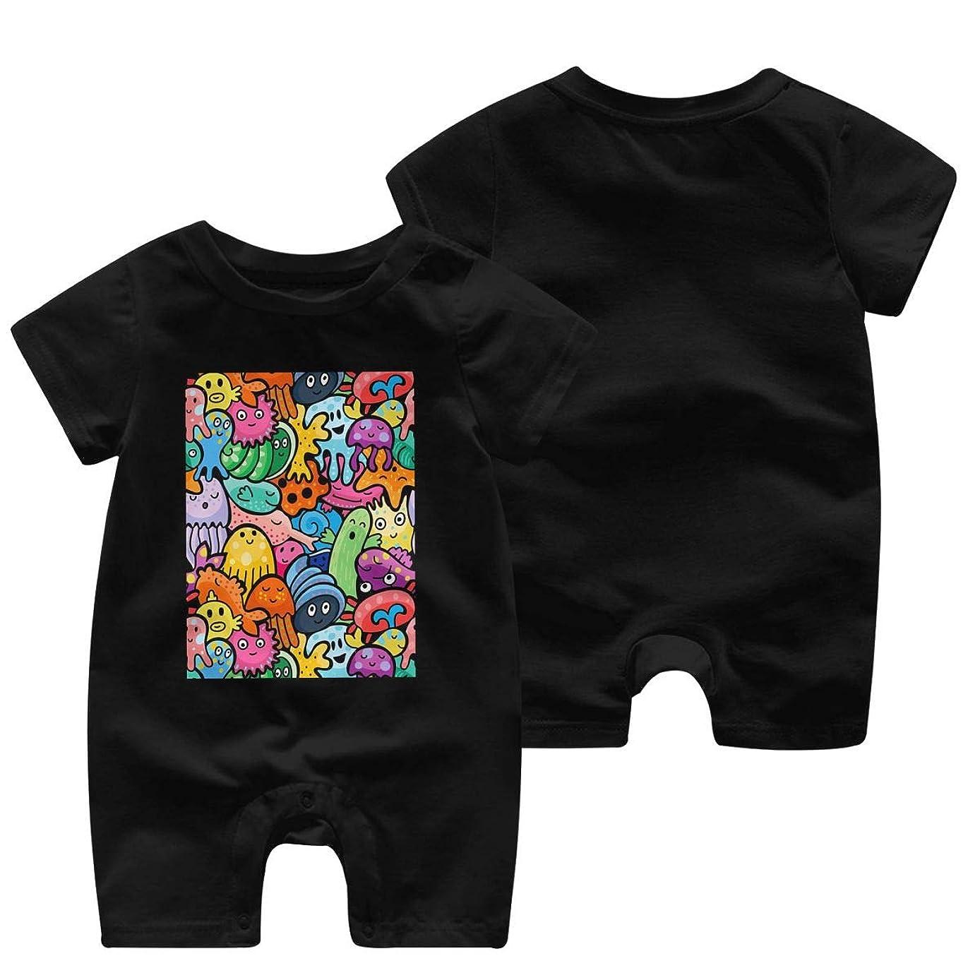アラブ周術期サバント海の動物 ベビー服 肌着 新生児 ロンパース 夏 半袖 ジャンプスーツ ベビー 服 前開き 赤ちゃん ロンパースジャンプスーツ 男女兼用 Tシャツ 100%綿製 柔らかい (0-24m)