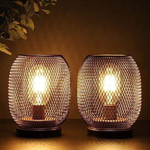 JHY DESIGN Conjunto de 2 faroles metálicos con jaula LED, batería, luz decorativa inalámbrica con bombilla LED estilo Edison. Ideal para bodas, fiestas, interiores y exteriores.