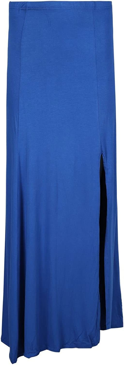 Oops Outlet Womens Loose Baggy Split Jersey Ladies Plain Party Flared Maxi Skirt