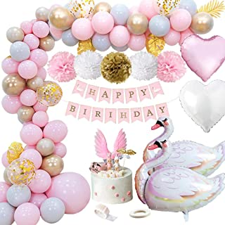 MMTX Decoration Anniversaire Fille, Bannière Joyeux Anniversaire avec Feuilles de Palmier, Pompons en Papier, Ballons Coeu...