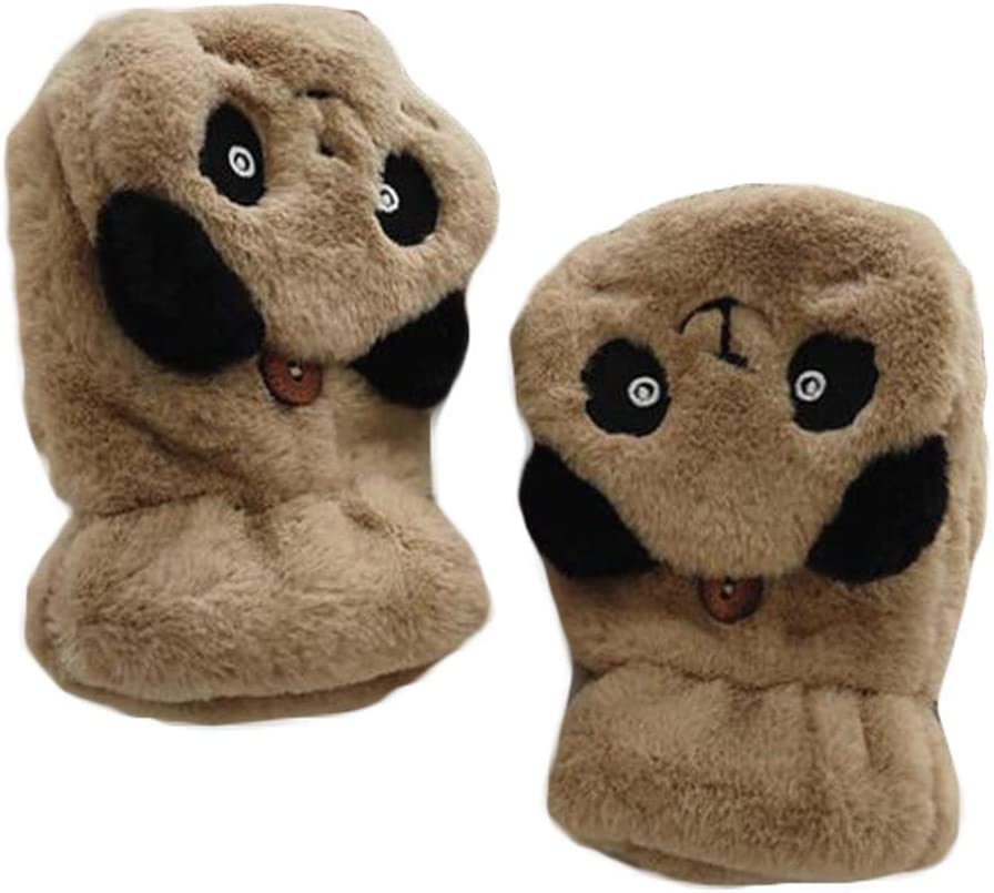 1 Pair Women's Plush Cute Panda Winter Gloves Fingerless Mitten Gloves with Flip Cover, Brown