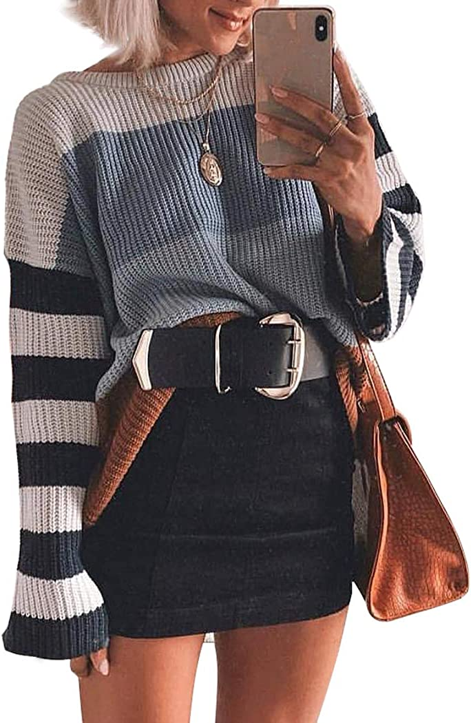 XOUXOU Women Sweater Long Sleeve Crew Neck Color Block Striped Oversized Casual Knitted Pullover Tops