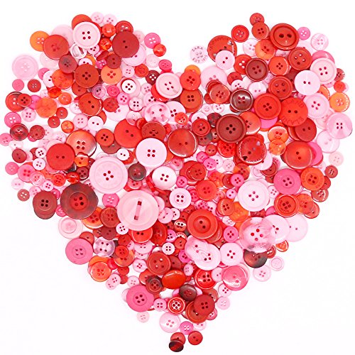 Swpeet 650 Pieces Assorted Sizes Resin Buttons 2 and 4 Holes Round Craft Buttons for Sewing DIY Crafts Children's Manual Button Painting (Light Red)