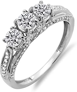 1.00 Carat (ctw) 14K Gold Round Diamond Vintage Bridal 3 Stone Engagement Ring 1 CT