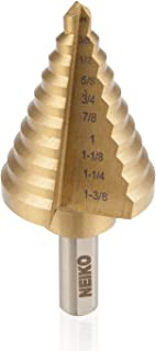 Neiko 10194A Titanium Step Drill Bit, High Speed Steel | 1/4 to 1-3/8 | Total 10 Step Sizes