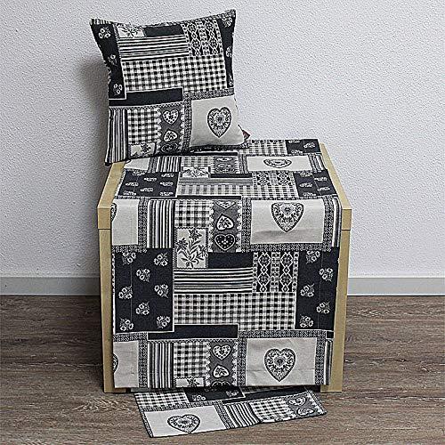 Hossner Tischdecke Mitteldecke Taylor Herzen & Ornamente grau weiß 85x85cm