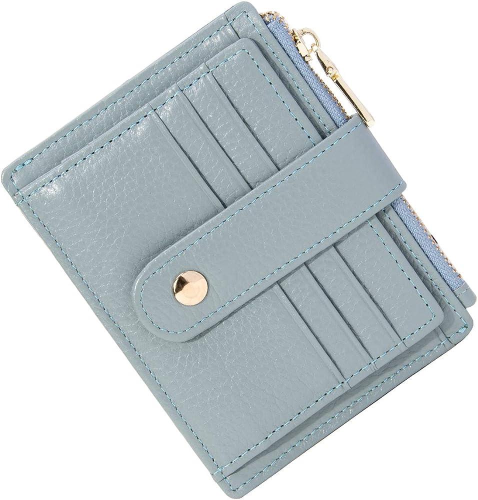 Btneeu, portafroglio, porta carte di credito, per donna, in pelle grigia
