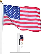 AES 20 Foot Sectional White Steel Flagpole Flag Pole Kit 20'