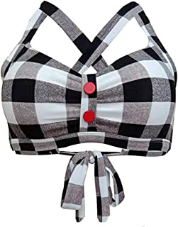 Women's Vintage 50s Plaid Pattern Halter Bikini Top Swimsuits
