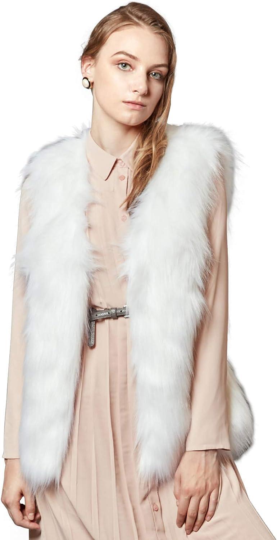 ANNA&CHRIS Womens Faux Fur Vest Soft Sleeveless Waistcoat Jacket