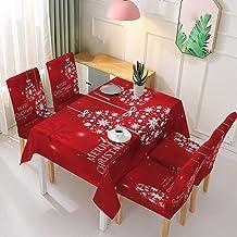 Kerst Rechthoekig Tafelkleed - Kerst Wasbare Tafel Hoes Elastische Stoel Hoes Mode Kerst Patroon Afdrukken Rode Rechthoek ...