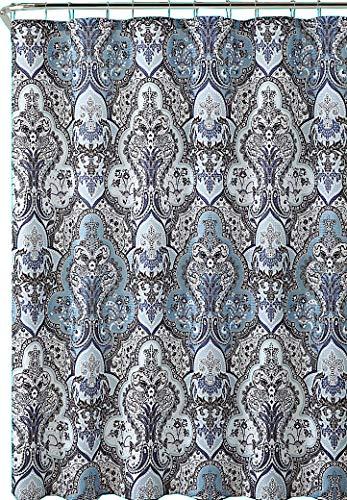 Calais Grey Blue Shower Curtain: Contemporary Floral Paisley Moroccan Damask Design