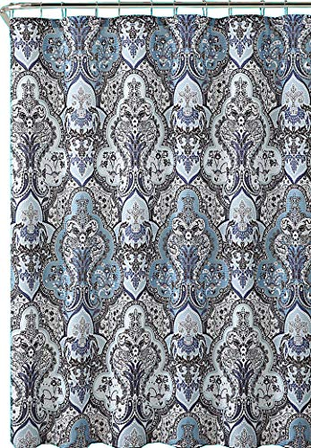 Calais Grey Blue Shower Curtain: Contemporary Floral Paisley Moroccan Damask Design