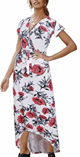 Women Wrap Maxi Dress Short Sleeve V Neck Floral Flowy with Belt High Low Women Summer Beach Party Wedding Dress