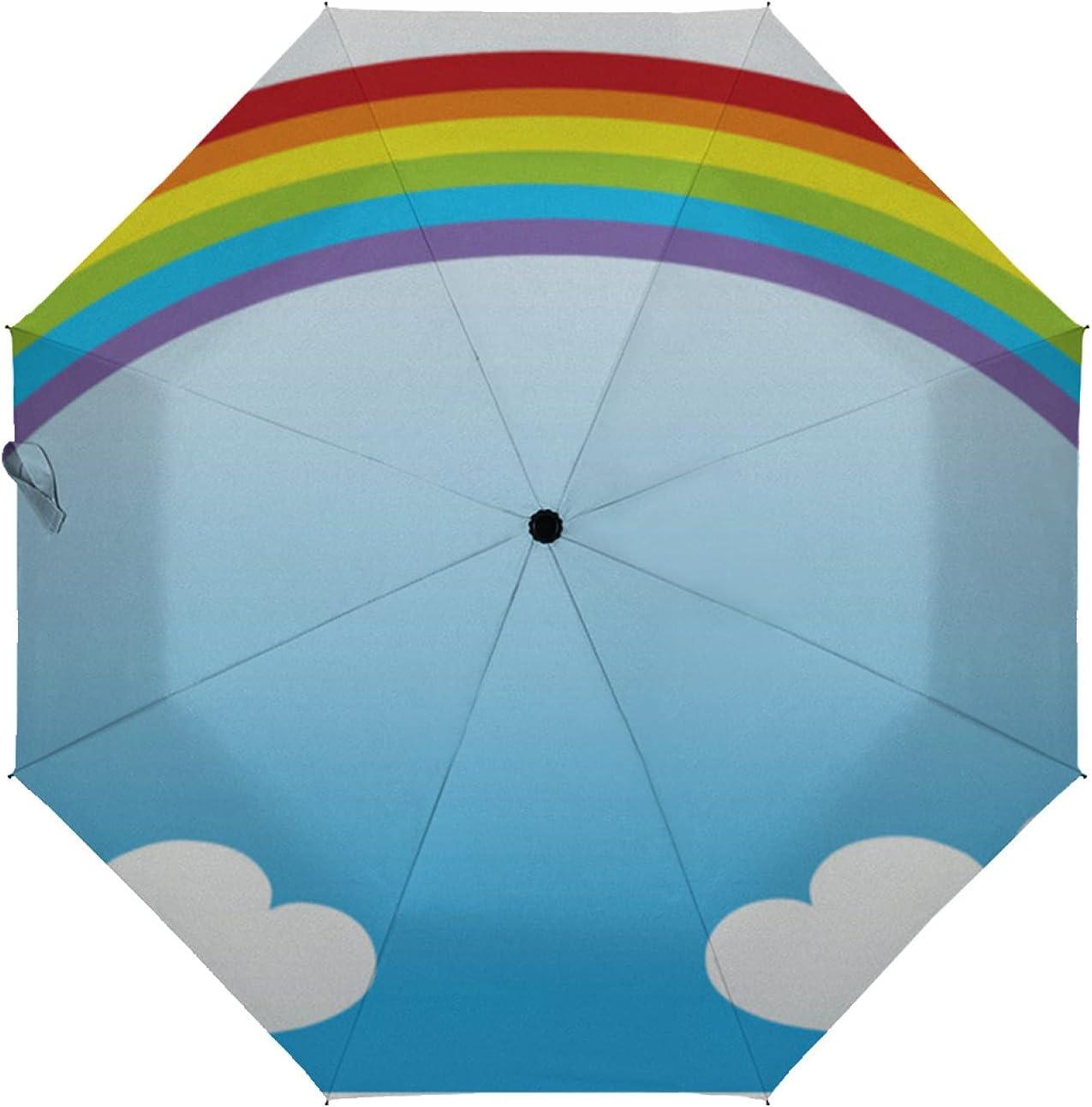 ZXZNC Austin Mall Auto Genuine Free Shipping Open Close Umbrella Cartoon and Cloud Cute Rainbow in