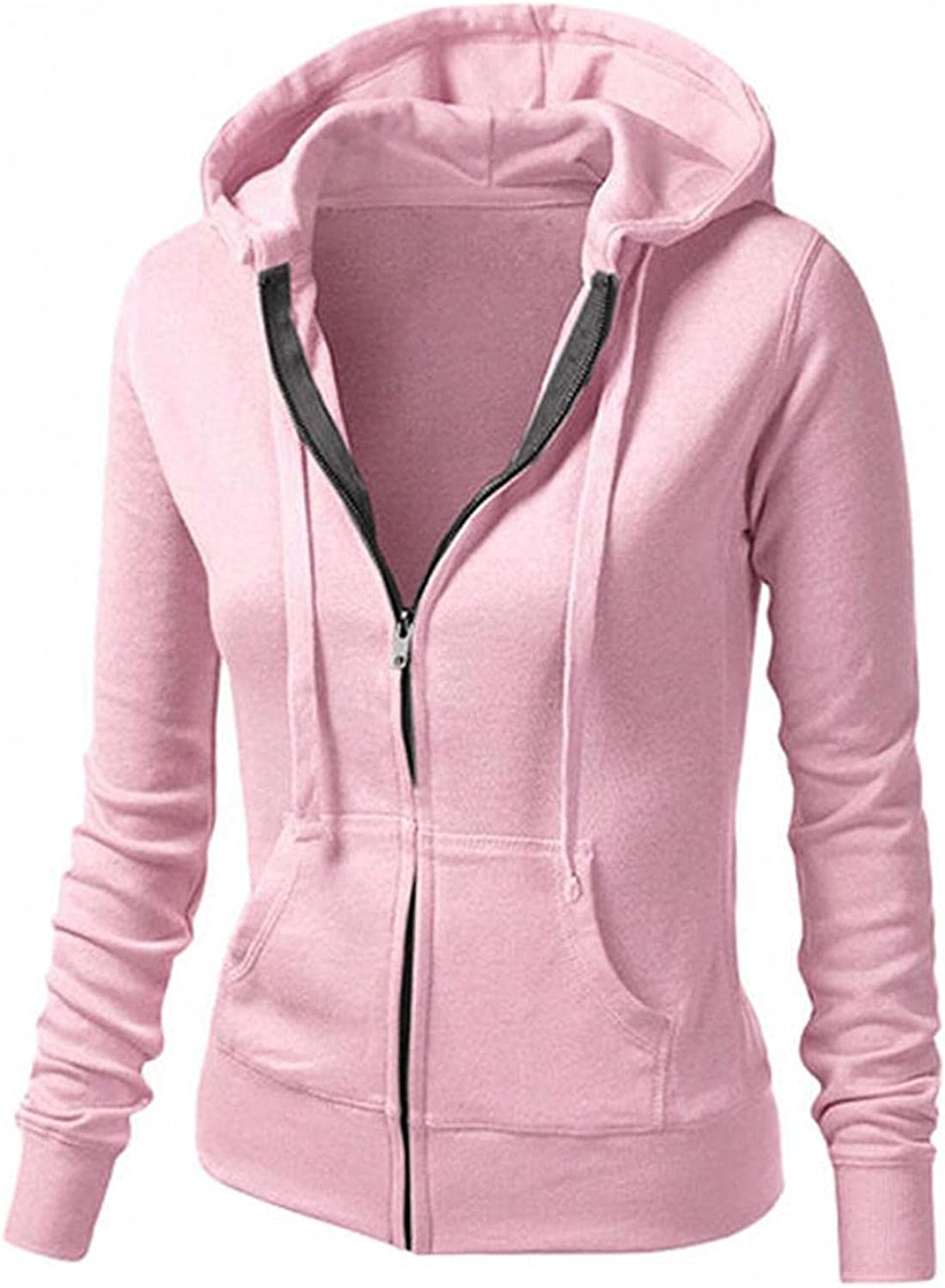 Nulairt Womens Hoodies, ,Women's Solid Color Zip Up Sweatshirts Jackets Fashion Drawstring Hooded Tops with Pockets
