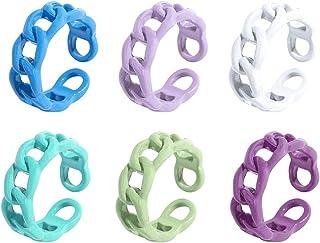 JAWSEU 4 st tjocka ringar färgglada, vintage staplande ringar, vintage tjocka ringar färgglad fingerring, söta och trendig...