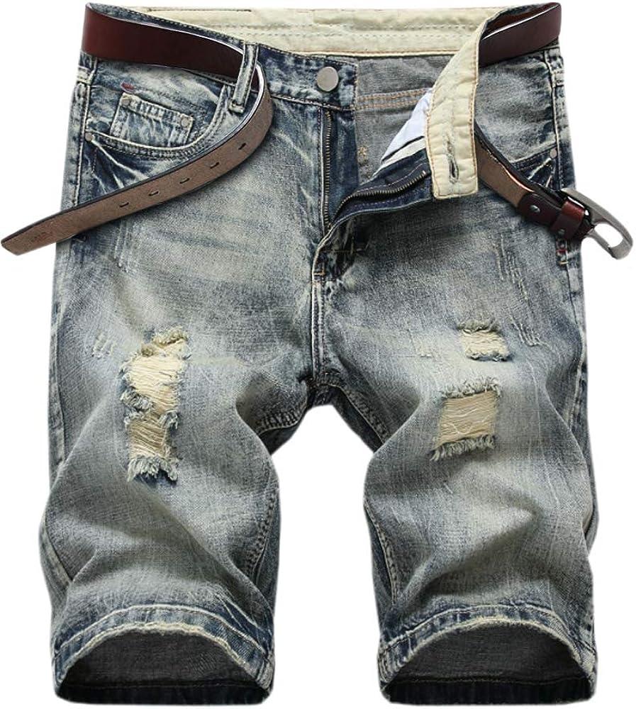 SHOOYING Men's Ripped Denim Shorts, No Belt