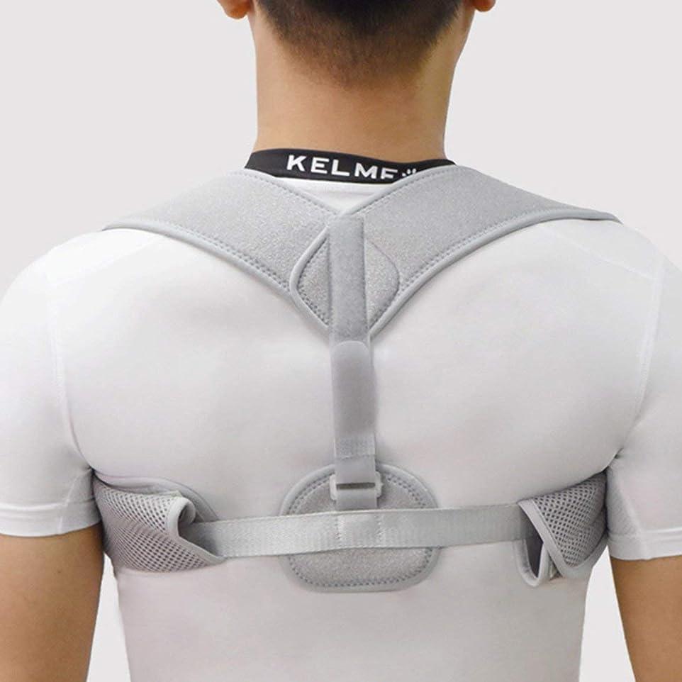 笑い衝突する検出器新しいアッパーバックポスチャーコレクター姿勢鎖骨サポートコレクターバックストレート肩ブレースストラップコレクター耐久性 - グレー