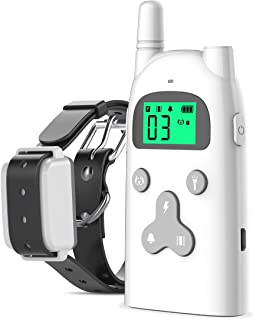 iThrough Dog Training Collar with Remote - Rechargeable Dog Shock Collar w/3 Training Modes, Beep, Vibration and Shock,for Small Big Dog bark Collar with LCD Display,Electronic No Barking Collar