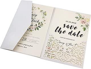 25 sets Pearl White/Ivory/Pink/Navy Blue/Burgundy paper Tri Fold Vertico pocket Laser Cut Vine Wedding Invitations Cards Hollow Carving Greeting invites Engagement Birthday Bridal Shower (white)