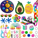 50 Pcs Sensory Pop Fidget Toys Set Pop Bubble Toy Sensory Toys Stress Relief and Anti-Anxiety Toys Pack Gift for Adults and Childrens with Autism (Toy Set A5)