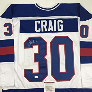 Autographed/Signed Jim Craig White Team USA Miracle On Ice 1980 Olympics Hockey Jersey JSA COA