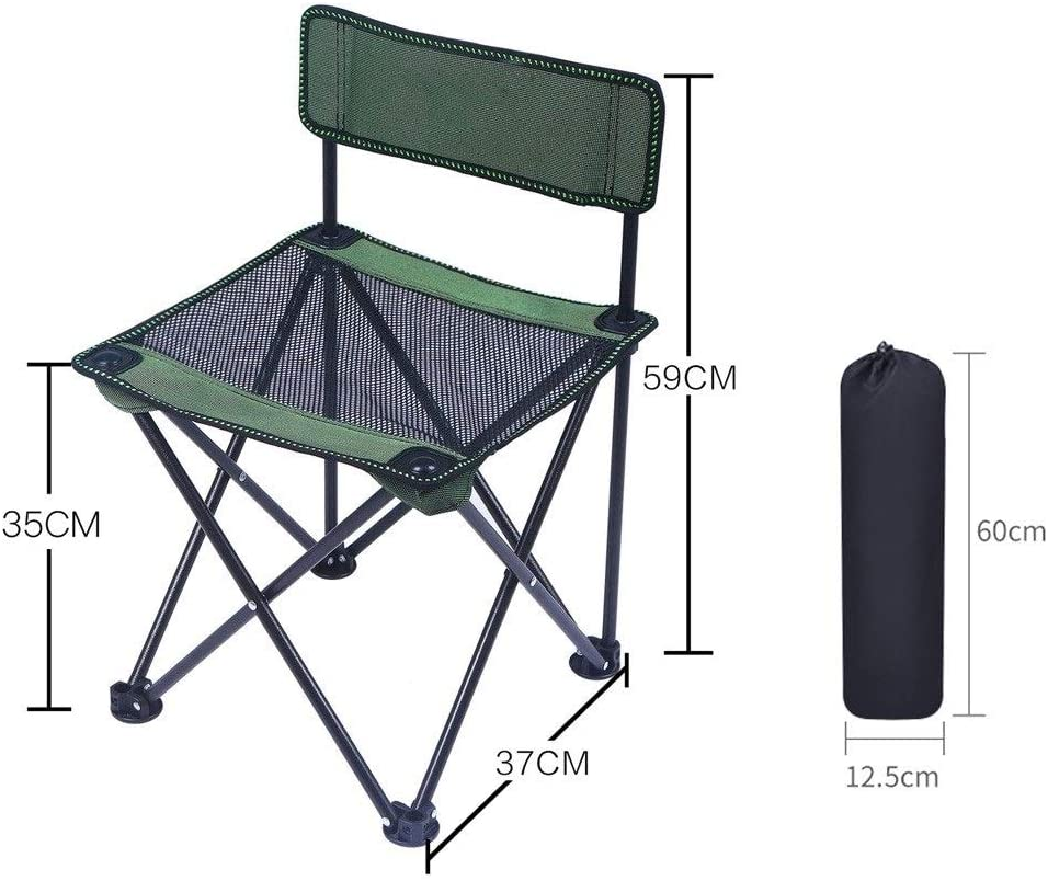 Chaise Longues Chaises De Camping Avec Dossier Ultra-léger Portable Meubles De Camping Pour La Pêche Randonnée, 5 Couleurs (Color : Black) Green2