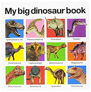 Prextex Realistic Looking 7 Dinosaurs Pack of 12 Large Plastic Assorted Dinosaur Figures with Dinosaur Book Pr-2001