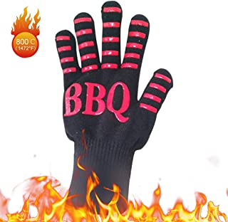 Decdeal BBQ Gloves Heat Resistant Grill Gloves Insulated Oven Mitts Non Slip Gloves for Cooking Baking Smoker Fireplace