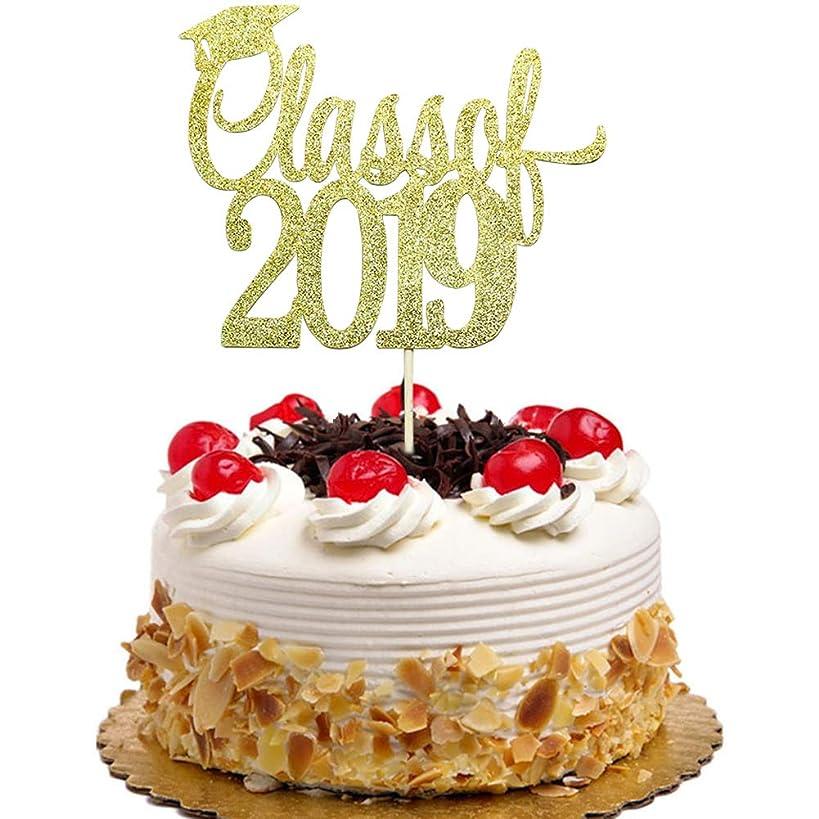Class of 2019 Cake Topper, Congrats Grad, Graduation with Graduate Cap Party Decorations Gold Glitter