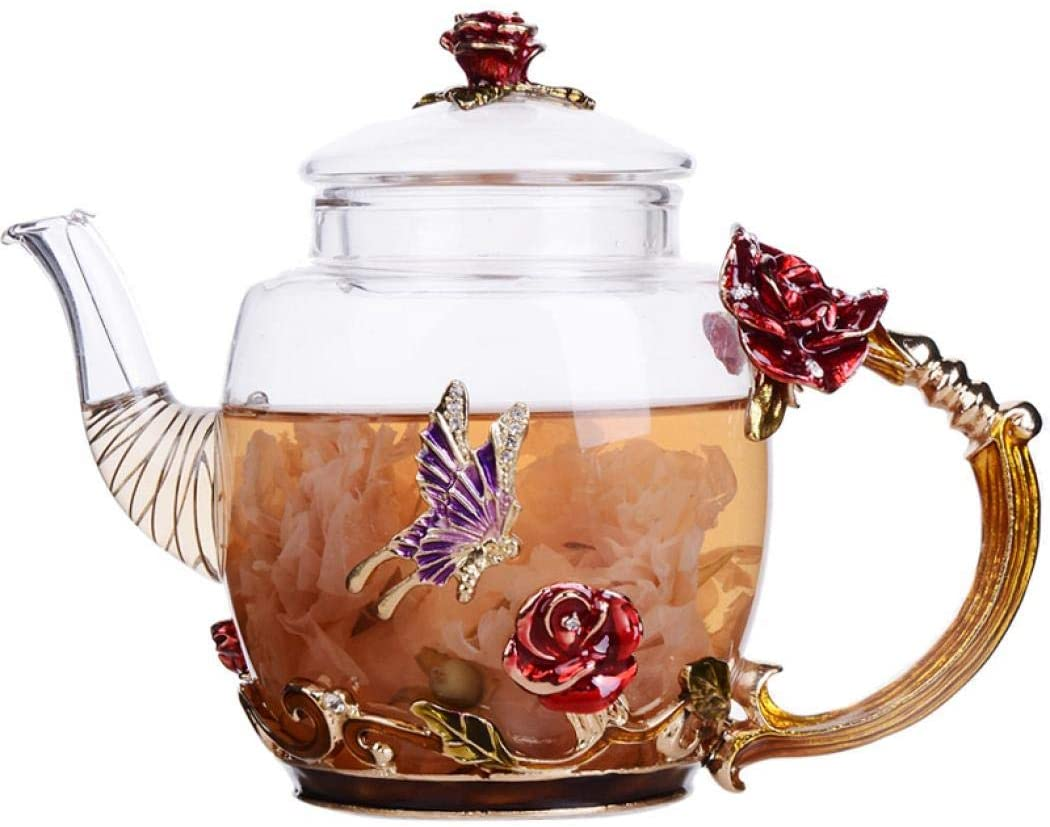 Floral Glass Teapot with France Enamel Flower Butterfly Decorati