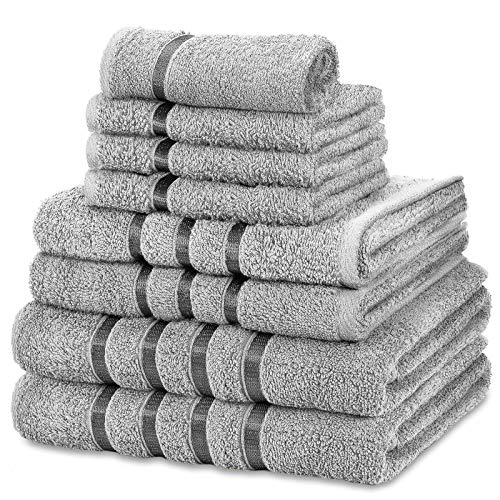 FAIRWAYUK Handtuch-Set für Badezimmer, ultraweich, hochwertig, wasserabsorbierend, Geschenksets, 100 % ägyptische Baumwolle, 4 x Gesicht, 2 x Hand, 2 x Badetücher, 8-teilig, Silberfarben