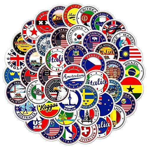 BLOUR 60 Piezas Banderas Nacionales Pegatinas Juguetes Pegatina DIY Scrapbooking Maleta Bandera Logo sobre Sellado Pegatina