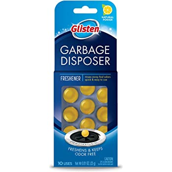 Glisten Disposer Care Freshener, Odor Eliminator, Quick & Easy-to-Use Garbage Disposal Freshener, Lemon Scent, 10 Uses