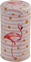 Round Metal Grains Container with Flamingo Print, 3 Layers - Multi Color