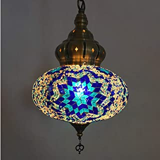Turkish Lantern Pendant Lamp, Retro Handmade Mosaic Glass Chandelier, Moroccon Tiffany Style, Restaurant Romantic Bar Pendant Lights (Color : Blue)