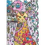 Hoxin 5D Katze mit Kuckucksuhr Stickerei Malerei - 5D voller Diamant, Kreuz Handwerk Stich Wohnkultur handgemachtes Geschenk