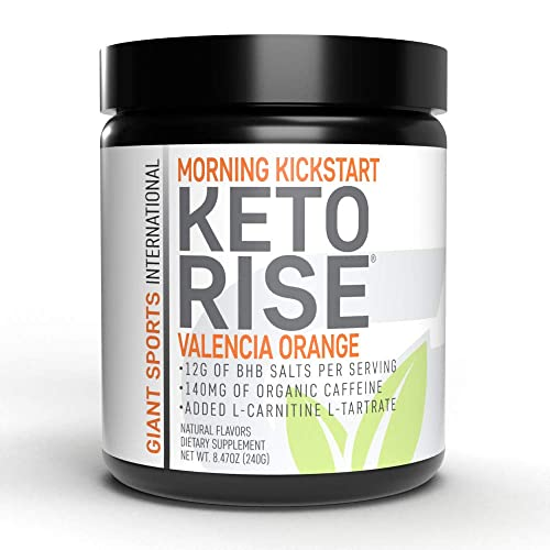 Keto Rise - Exogenous Ketones Powder with Caffeine – BHB Salt Morning Energy Formula Designed to Boost Ketone Levels, Increase Performance and Support Your Ketogenic Diet, 15 Servings - Valencia OJ