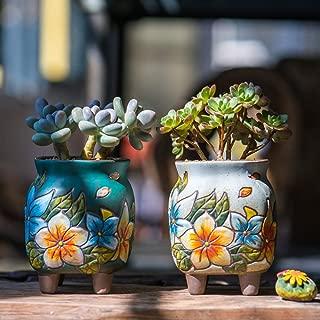 Sungmor Set of 4 - Beautiful Handicrafts Flower Style Ceramic Planter - 8.4CM Succulent Cactus Plant Pot - Pretty Desktop Windowsill Landscape Flowerpot - Home & Office Decor Pots - Simple Gift Idea