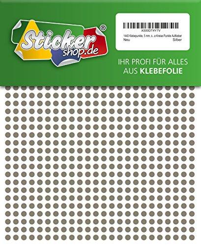 1440 Klebepunkte, 5 mm, silber, aus PVC Folie, wetterfest, Markierungspunkte Kreise Punkte Aufkleber