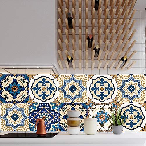 EXTSUD Adesivi per Piastrelle Muro Set da 10 Pezzi Wall Stickers da Mattonelle Parete in PVC Impermeabile Autoadesivo Decorazione per Cucina Bagno Ristorante Hotel (20x20cm, Stile Marocchino)