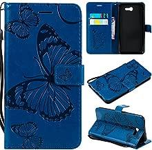 Samsung Galaxy J7 Sky Pro case,Galaxy J7 Prime Case,Galaxy Halo case,Galaxy J7 Perx case,Wallet Leather Folio Flip PU Card Holder with Kickstand Phone Case Cover for J7 V 2017,Butterfly Navy Blue