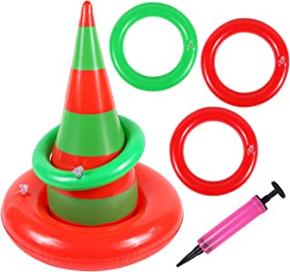Unime Inflatable Witch Hat Ring Toss Game Set Target Toss Floating Ring Toss Includes Inflatable Witch Hat,4 Inflatable Rings for Halloween Party Accessories Christmas Party Decoration Supplies