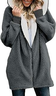 Libermall Womens Coats Fashion Long Sleeve Winter Warm Solid Fluffy Zip Hoodie Oversized Coat Cardigans Jackets Outwear