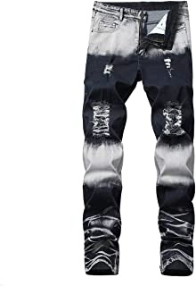 Mikey Store Mens Stretchy Ripped Skinny Jeans Slim Fit Denim Pants