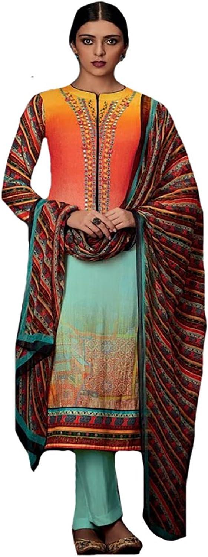 100% Original Pure cotton Straight Salwar Kameez suit Formal Ceremony 8747