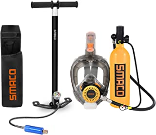 SMACO Scuba Tank & Snorkel Mask Diving Gear for Diver Mini Diving Tank Oxygen Cylinder with 15-20 Minutes Capability Divin...