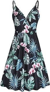 Women Dress Summer V-Neck Strap Casual Slim Comfy Skirts Swing Dress with Pockets Dress